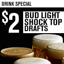 Bud Light & Shock Top 14 oz $2